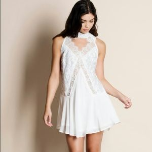 Mock Neck White Lace Dress